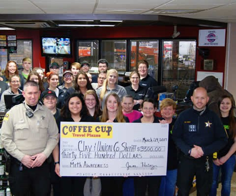 Coffee Cup employees donation to fund the fight against meth in the community